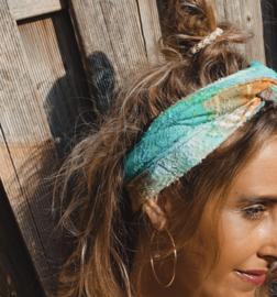 Hair bandeau tie dye 'aqua, green & orange '