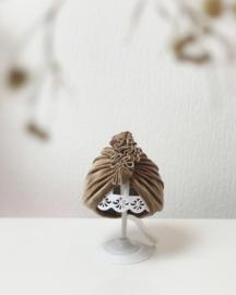 Mini-Turban ruffle 'taupe'