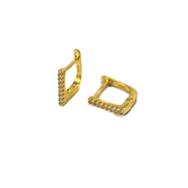 SQUARE ZIRCONIA HOOPS GOLD