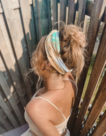 Hair bandeau 'Tie dye yellow, Lila and aqua'