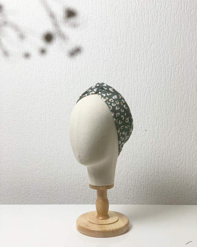 Hair bandeau 'Green leopard'