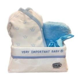 VIB Gift Set 18 met Commodemandje Boy  (Wit/Blauw) 0-3 Maanden