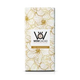 WOWCACAO Chocoladereep Melk Almond Cinnamon (130 gram)