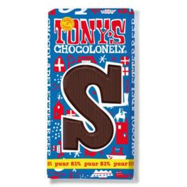 Tony's Chocolonely 180 Gram Puur Letterreep S