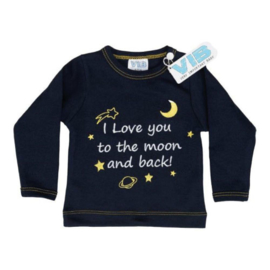 VIB! T-Shirt Navy (I love you to the moon and back!) 0-3 Maanden