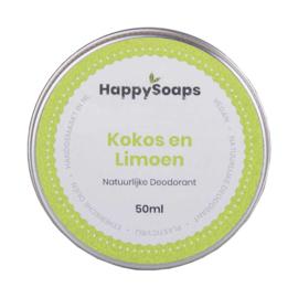 HappySoaps Natuurlijke Deodorant Kokos en Limoen 50ml