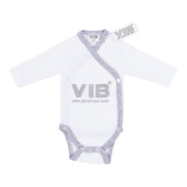 VIB Rompertje Wit / Grijs (VIB Very Important Baby)