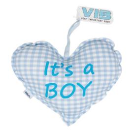 VIB Kussentje Hart Blauw (It's a BOY)
