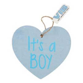 VIB Houten Bordje Hart Blauw (It's a BOY)