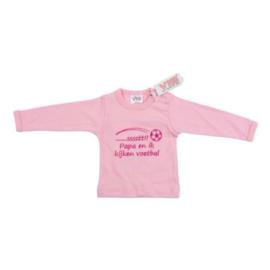 VIB T-Shirt Roze (.....Sssssst!! Papa en ik kijken voetbal) 0-3 Maanden