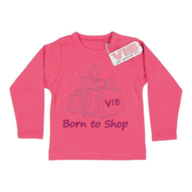 VIB! T-Shirt Roze (Born to Shop) 0-3 Maanden
