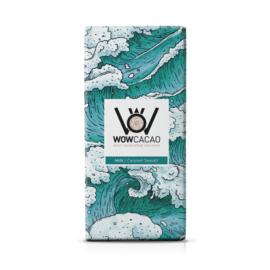 WOWCACAO Chocoladereep Melk Caramel Seasalt (130 gram)