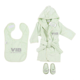 VIB Gift Set Mint (Badjas 62/68, Slabbetje & Slippers)