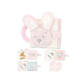 VIB Pluche Knuffelboekje Konijn (Roze)