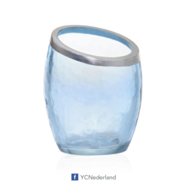 Yankee Candle Votive Holder Bucket Pearlescent Crackle Blue