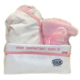VIB Gift Set 19 met Commodemandje Girl  (Wit/Roze) 0-3 Maanden