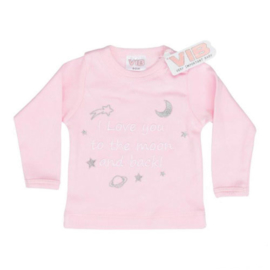 VIB T-Shirt Roze (I Love you to the moon and back!) 0-3 Maanden