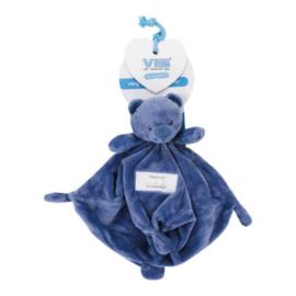 VIB Knuffeldoekje met Berenhoofd (Kobalt Blauw)