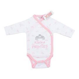 VIB Rompertje Wit + Roze All Over Print Tiara (Kleine Prinses)