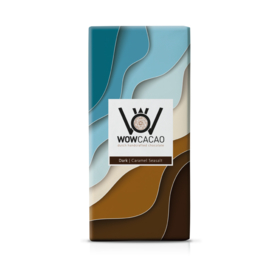 WOWCACAO Chocoladereep Puur Caramel Seasalt (130 gram)