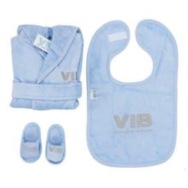 VIB Gift Set Blauw (Badjas 62/68, Slabbetje & Slippers)