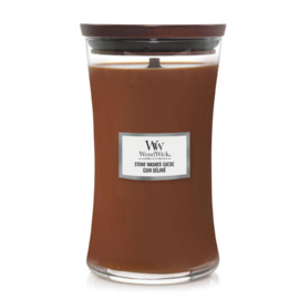 WoodWick Large Candle Stone Washed Suede