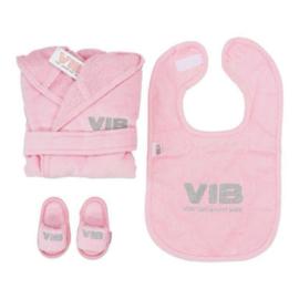 VIB Gift Set Roze (Badjas 62/68, Slabbetje & Slippers)
