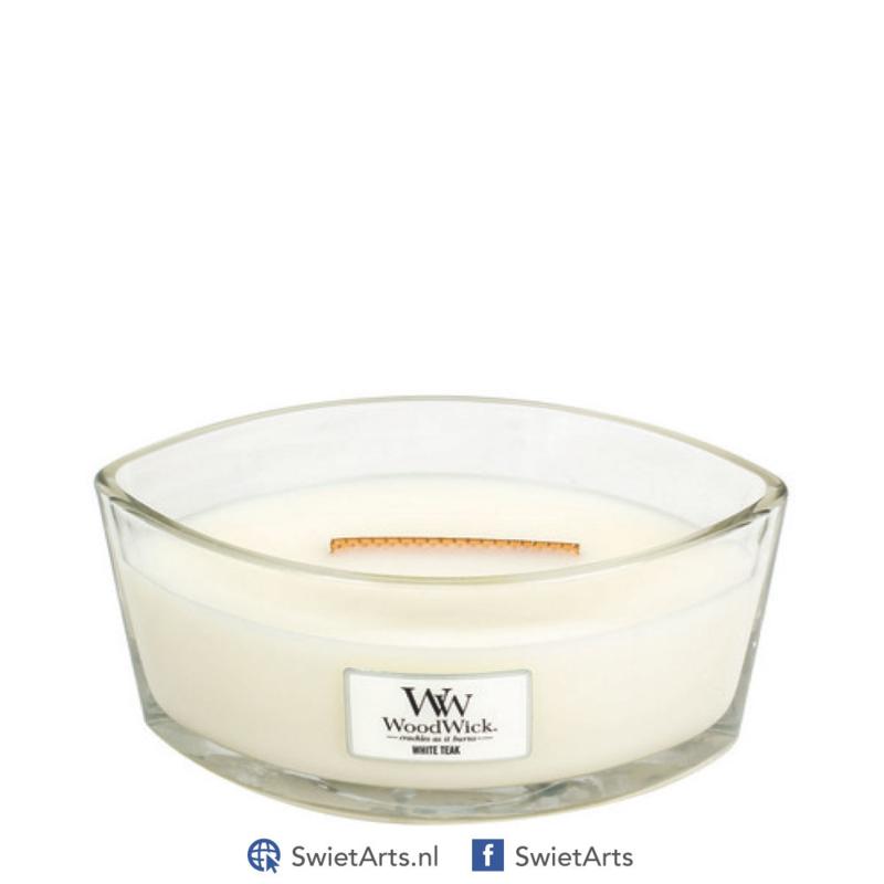 WoodWick Ellipse Candle White Teak