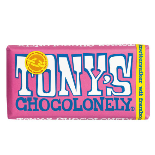 Tony's Chocolonely Wit Framboos Knettersuiker (180 gram)