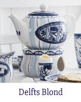 Blond Amsterdam Delfts Blond. Het Delfts Blond servies van Blond Amsterdam is gemaakt met een knipoog naar het Hollandse Delfts Blauw. De Delfts Blond serviescollectie bestaat o.a. uit kop en schotels, bekers, petitfours, voorraadpotten, theepot en nog heel veel meer servies producten.