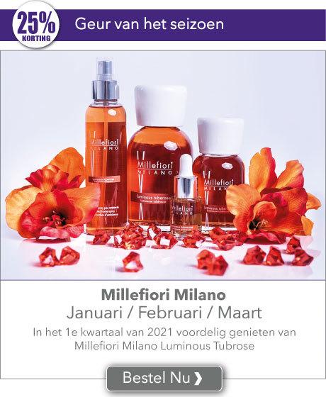 In het 1e kwartaal van het jaar voordelig genieten van Millefiori Milano Luminous Tubrose met 25% korting