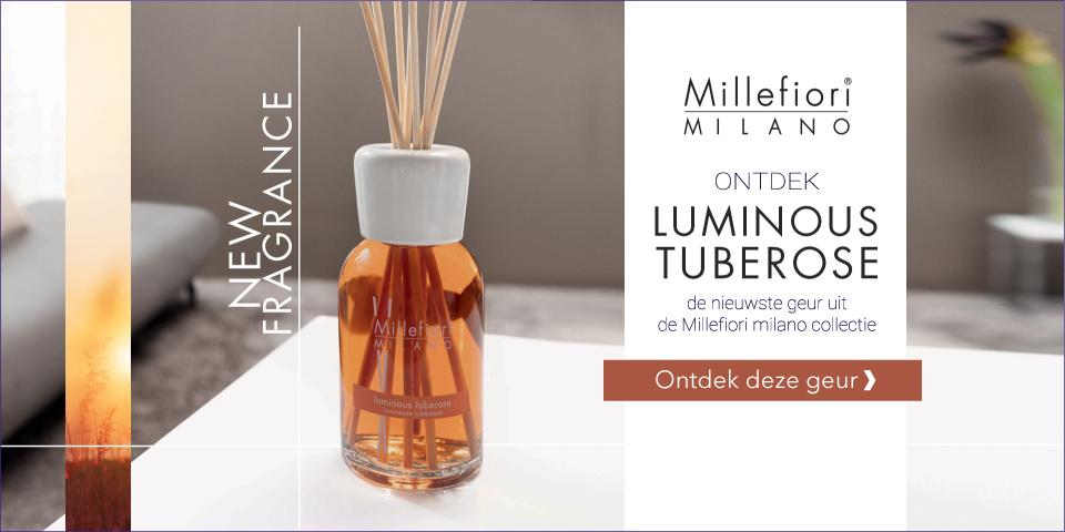 Ontdek de nieuwste Millefiori Milano geurproducten uit de Natural collectie Luminous Tubrose. Kies voor de heerlijke geurstokjes, voordelige navullingen, interieurparfum en geurolie.