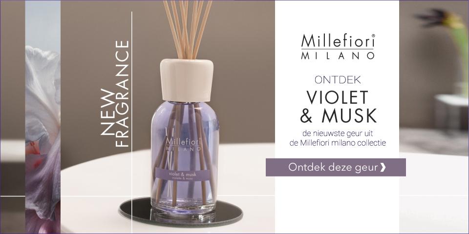 Ontdek de nieuwste Millefiori Milano geurproducten uit de Natural collectie Violet & Musk. Kies voor de heerlijke geurstokjes, voordelige navullingen, interieurparfum en geurolie.