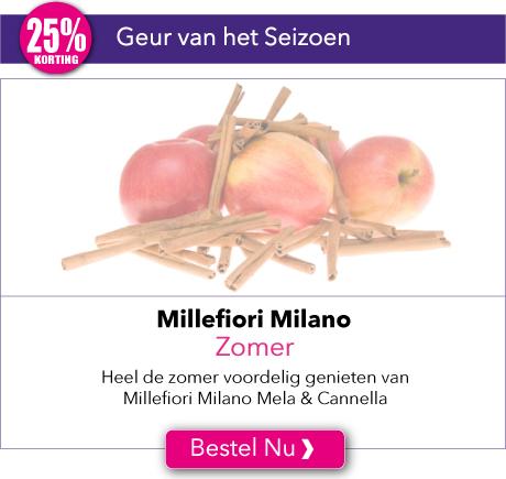 Heel de zomer voordelig genieten van Millefiori Milano Mela & Cannella met 25% korting