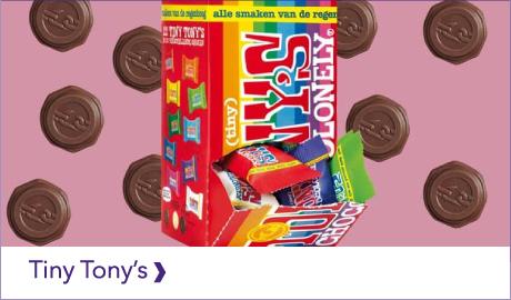 TONY'S CHOCOLONELY TINY TONY'S. LEKKER! MAAR OOK LEUK OM KADO TE GEVEN.