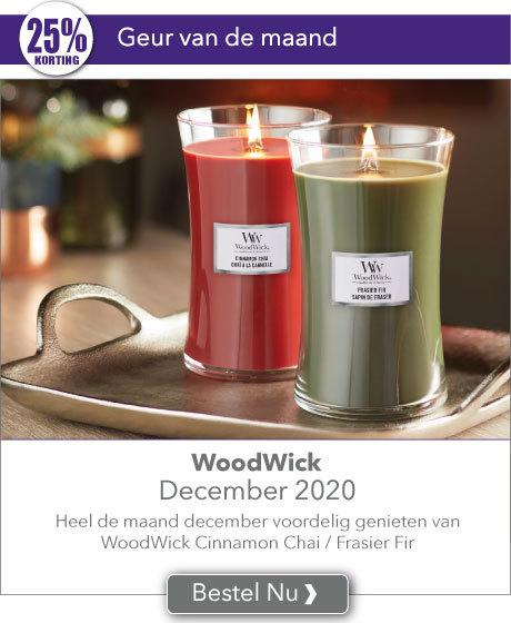 Heel de maand december met 25% korting genieten van de WoodWick geuren van de maand Cinnamon Chai & Frasier Fir