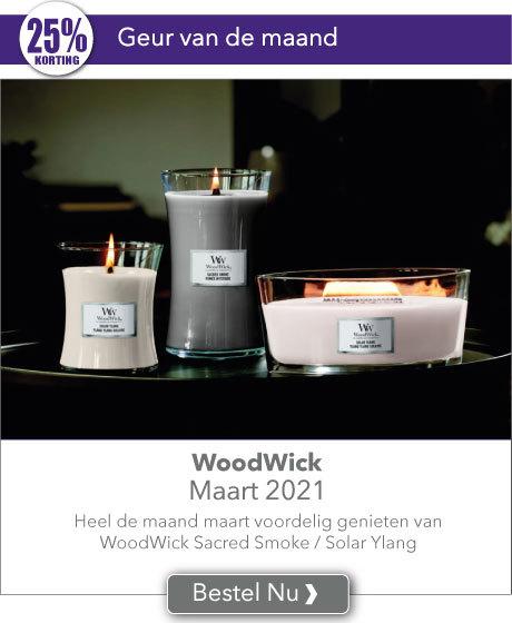 Heel de maand maart met 25% korting genieten van de WoodWick geuren van de maand Sacred Smoke & Solar Ylang