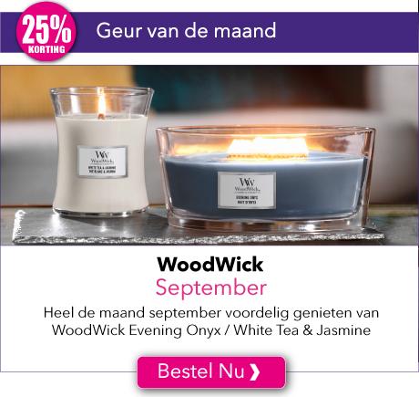 Heel de maand september met 25% korting genieten van de WoodWick geuren van de maand Evening Onyx en White Tea & Jasmine.