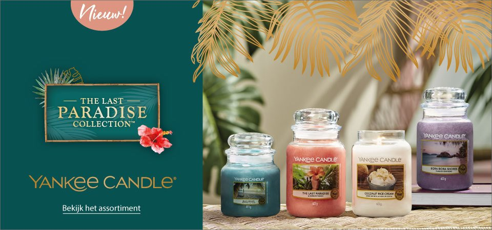 Yankee Candle The Last Paradise collectie 2021 met de nieuwste geuren Bora Bora Shores, Beach Escape, Coconut Rice Cream en The Last Paradise.