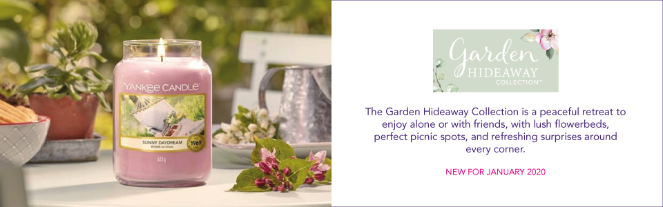 GARDEN HIDEAWAY The Garden Hideaway Collection is a peaceful retreat to enjoy alone or with friends, with lush flowerbeds, perfect picnic spots, and refreshing surprises around every corner.  NEW FOR JANUARY 2020