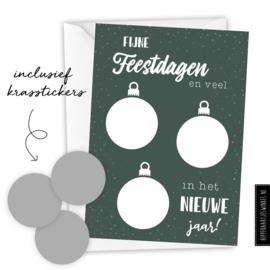 Kraskaart kerst DIY - Voordeelset 8 stuks groen/zilver inclusief witte envelop