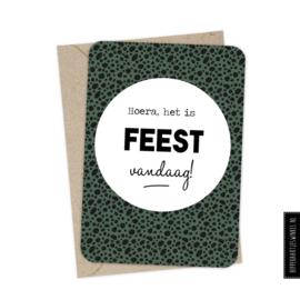 Wenskaart enkel  'Feest vandaag!' met envelop