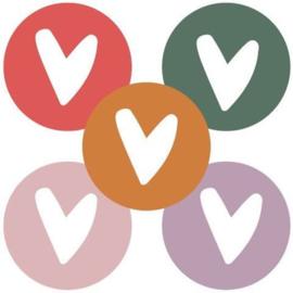 Stickers 'Hartje ' assorti kleur 36 stuks