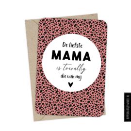 Wenskaart enkel  'Liefste mama' met envelop