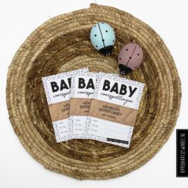 Babyshower invulkaartjes - Zwart/wit 10 stuks
