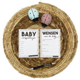 Babyshower invulkaartjes - Zwart/wit per stuk