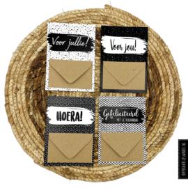 Geldkaarten set 4 stuks Zwart/wit