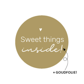 "Stickers rond ""sweet things inside"" goud 20 stuks"