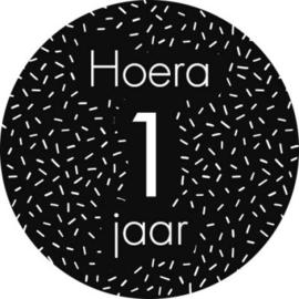 Stickers 'Hoera 1 jaar' 20 stuks