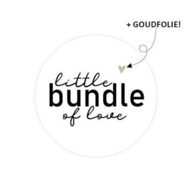 "Stickers ""bundle of love"" wit met goudfolie - 20 stuks"